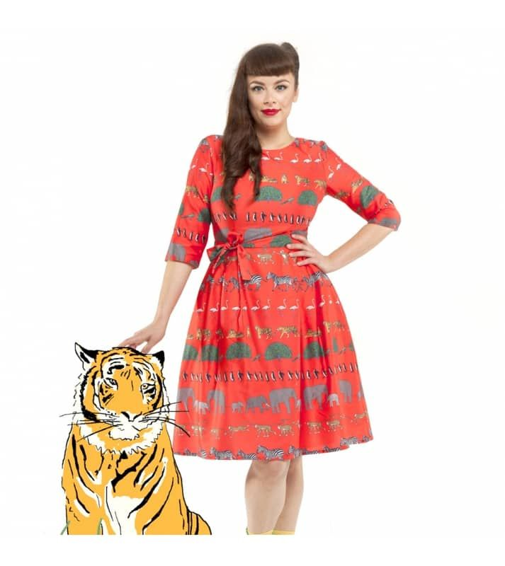 7b01c315c8 Fierce animal print dress in red with elephants and tigers