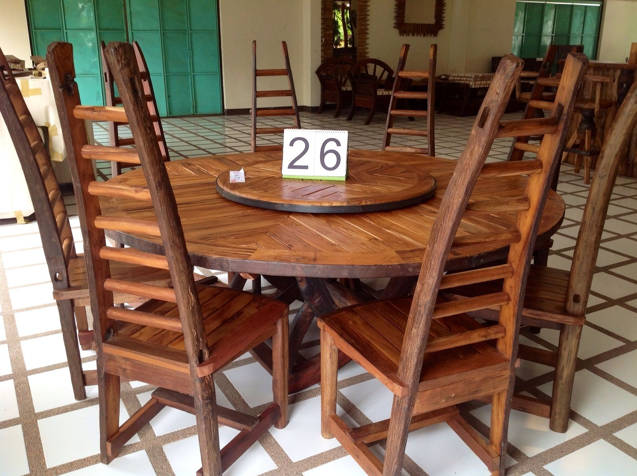 Handcrafted Reclaimed Ox Cart Teak Wood Dining Table With Lazy Susan And Chairs From Chiang M Wooden Dining Table Designs Dining Table Design Wood Table Design