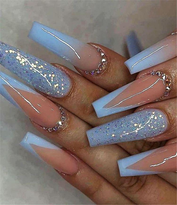 25 Gorgeous Arcylic Winter Coffin Nails You Must Follow Women Fashion Lifestyle Blog Shinecoco Com Long Acrylic Nail Designs Coffin Shape Nails Blue Acrylic Nails