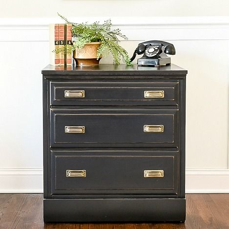 A simple way to turn a dated dresser into an industrial inspired chest. #furnituremakeover #paintedfurniture #industrial #industrialfurniture #industrialchest #DIYfurniture #milkpaint #milkpaint