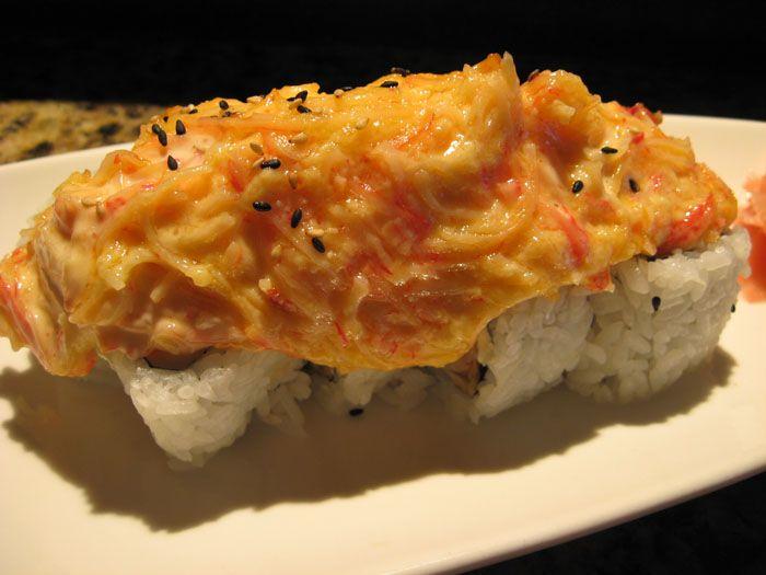 Volcano Roll Sushi at Ichiban: Shrimp tempura roll topped ...