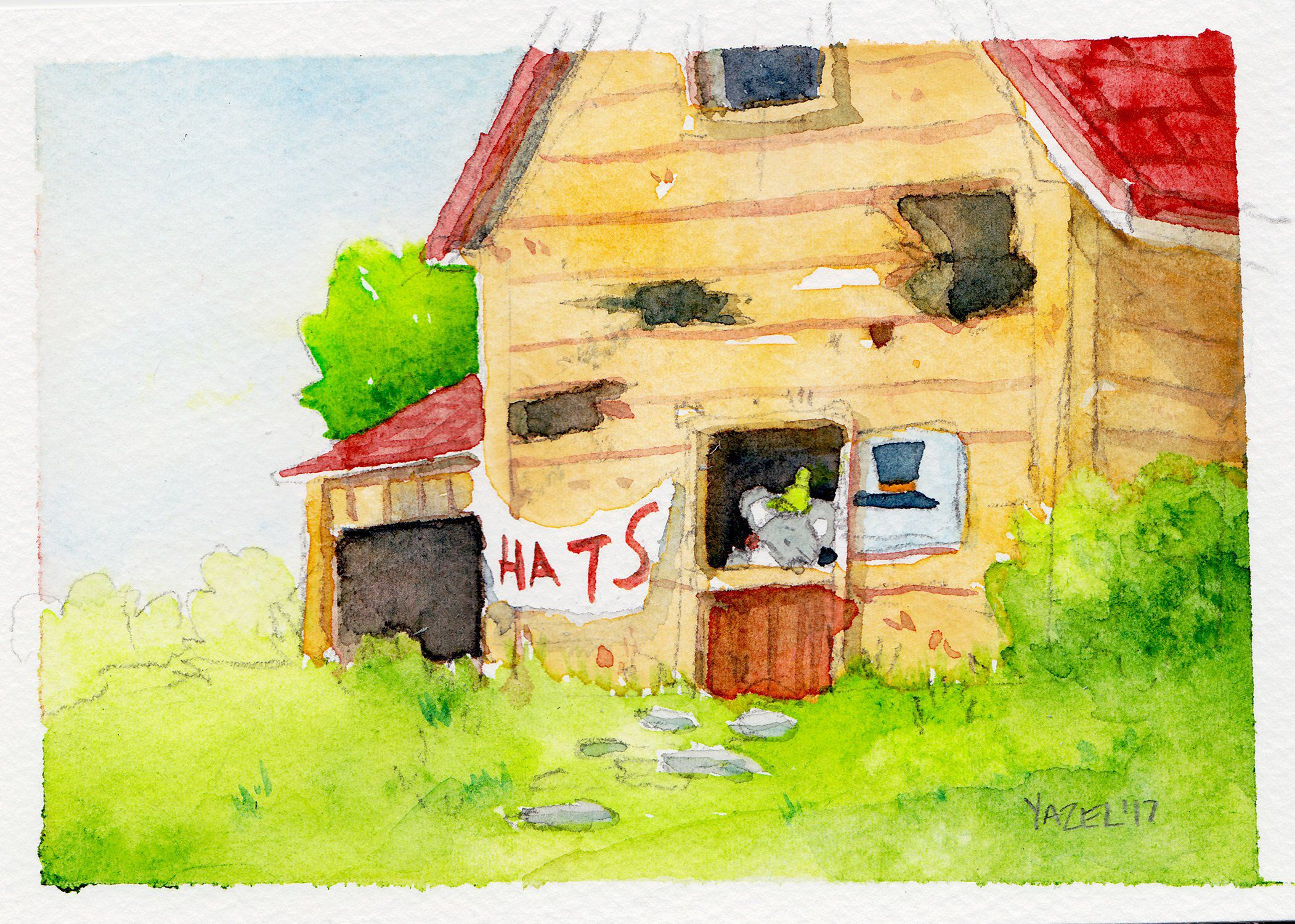 Hat Mouse watercolor illustration Stardew Valley