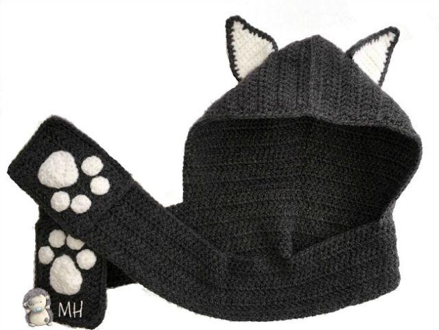 Gorro capucha gato a crochet   lana   Pinterest   Capucha, Gato y Gorros
