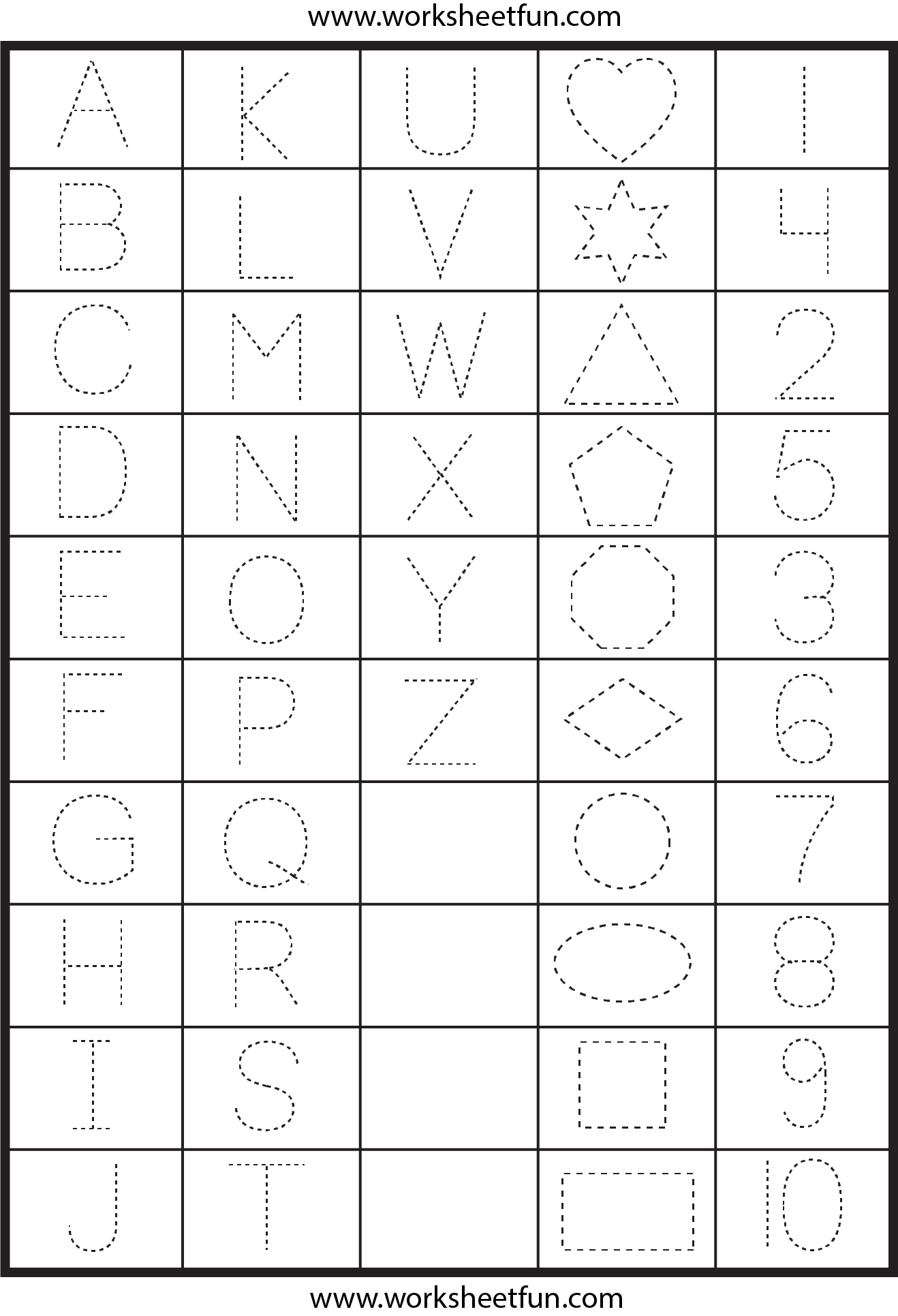 Letters, Numbers and Shapes Tracing Worksheet | Preschool ...