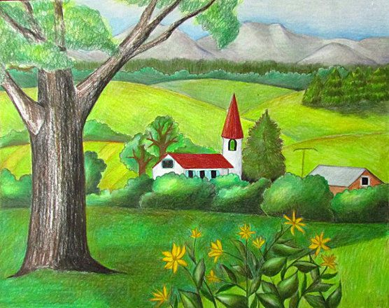 Color Pencil Landscape Drawing Projects To Try