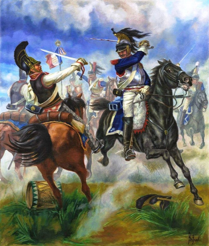Borodino, 1812: Russian Cuirassiers (black cuirasses) fight with