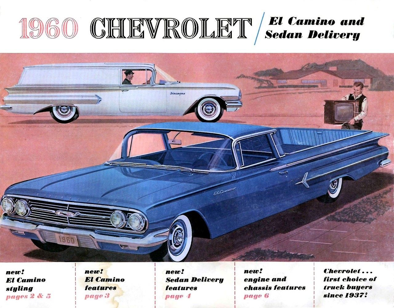 Elky And Sedan Delivery Brochure Cover 1960 Illustration With Images Chevrolet El Camino Car Chevrolet Chevrolet