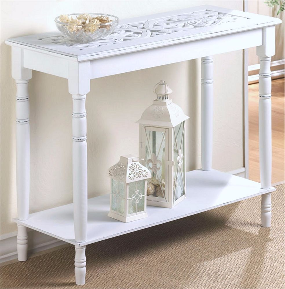 29 distressed white wood carved top console hall accent table w shelf nib unbranded modern