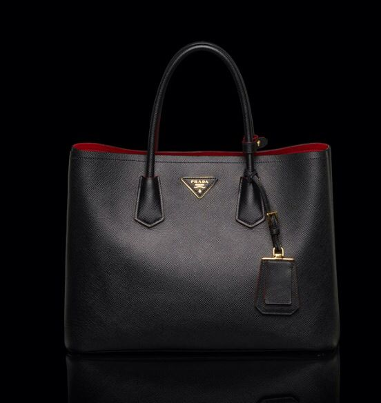 PRADA SAFFIANO CUIR LEATHER TOTE. Stunning. Red-lined. Mine!  0ff08216e9c8a