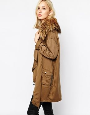 Image 1 ofRiver Island Waterfall Jacket With Faux Fur Collar