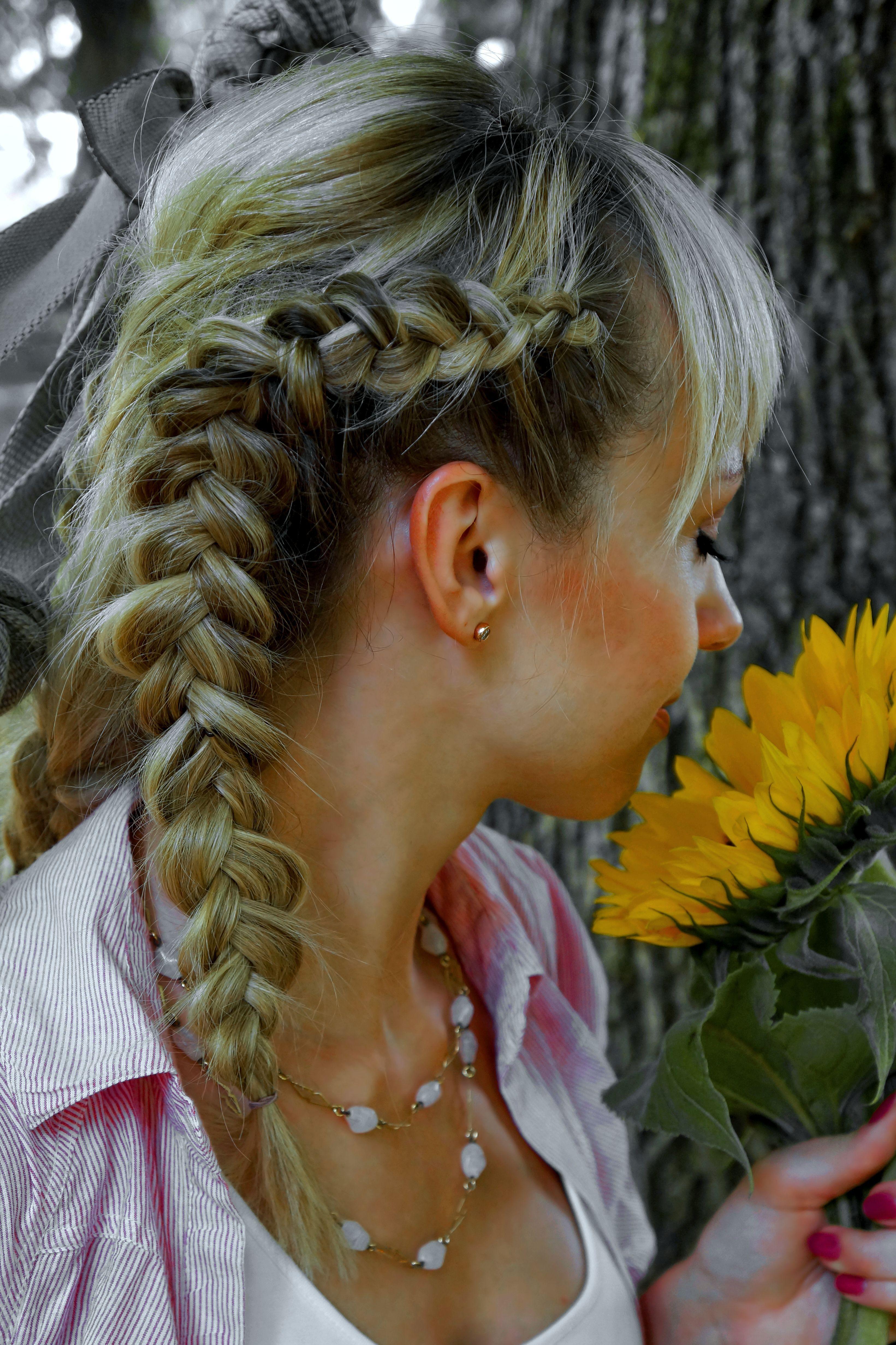 braid hairstyle longhair bride Zopf Frisur jga halboffen