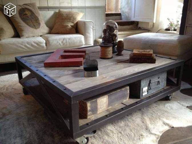meuble tv / table basse industrielle ldt ameublement nord
