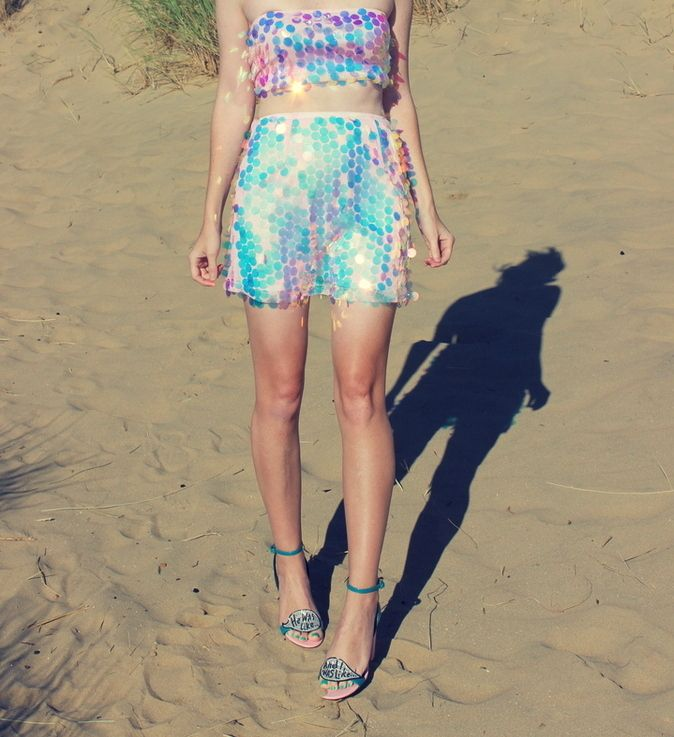5c654c6523f Halloween Unicorn Disco feat Motel Rocks sequin tube top + mini skirt