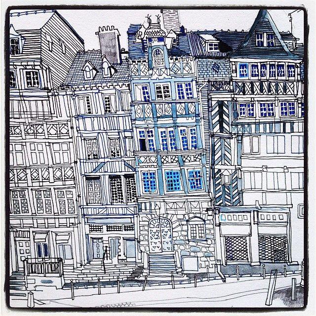 Rennes Place Du Champs Jacquet Maisons Immeubles A Pan De Bois
