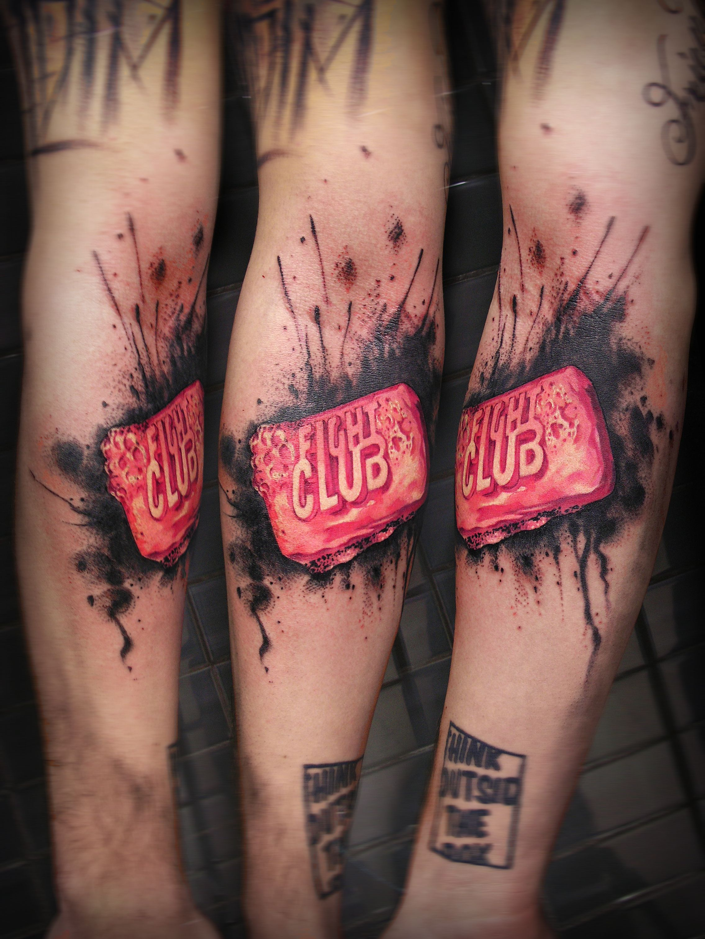 Fight Club tattoo, by Uncl Paul, guest tattoo artist at Black Onyx Tattoo Studio (N7 8GR, London) 11th-20th August 2014.