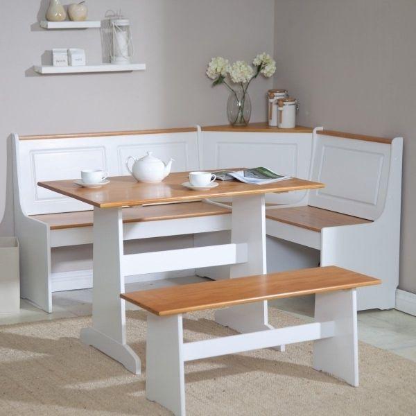 Enchanting Kitchen White Kitchen Booth Corner Design Ideas ...