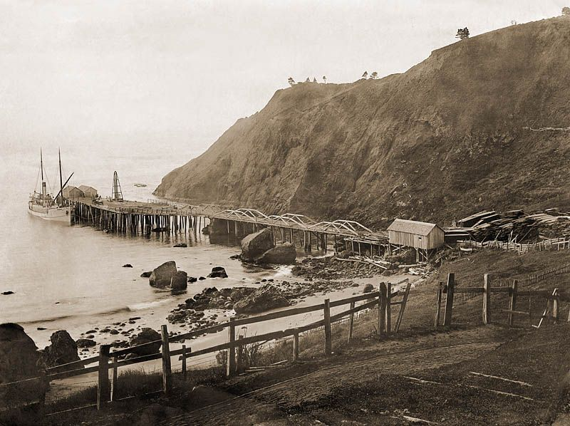 Small Lumber Ship Calling At Port Orford Early In The 1900 S