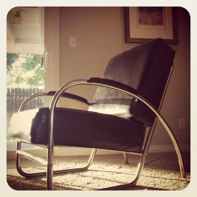 40's or 50's chair taken out of an office from Kaiser Steel.  My dad reupholstered it and gave it to me 15 years ago.  Wish I knew who made it.