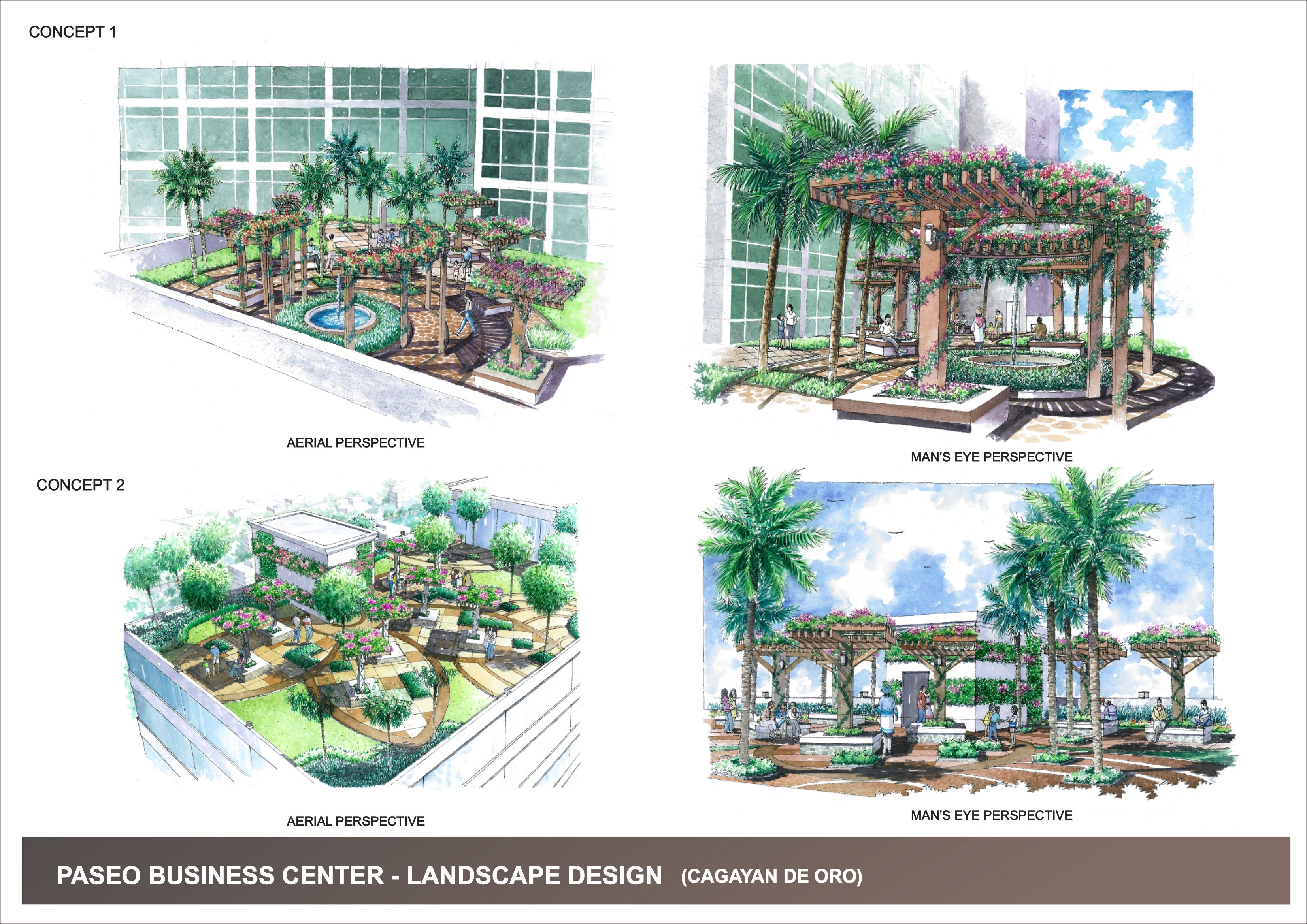 Landscape Design Roof Top Design Green Roof Design Freehand Drawings Hand Drawn Watercolour Rendering Tropical Landscape Design Philippines Project Sket