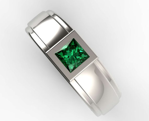 38df4900bab20 White Gold Princess Cut Green Emerald Wedding Ring, Unique Wedding ...