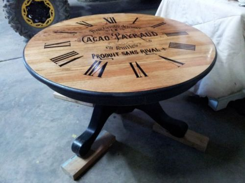 round coffee table french chocolate ad w/clock face distressed