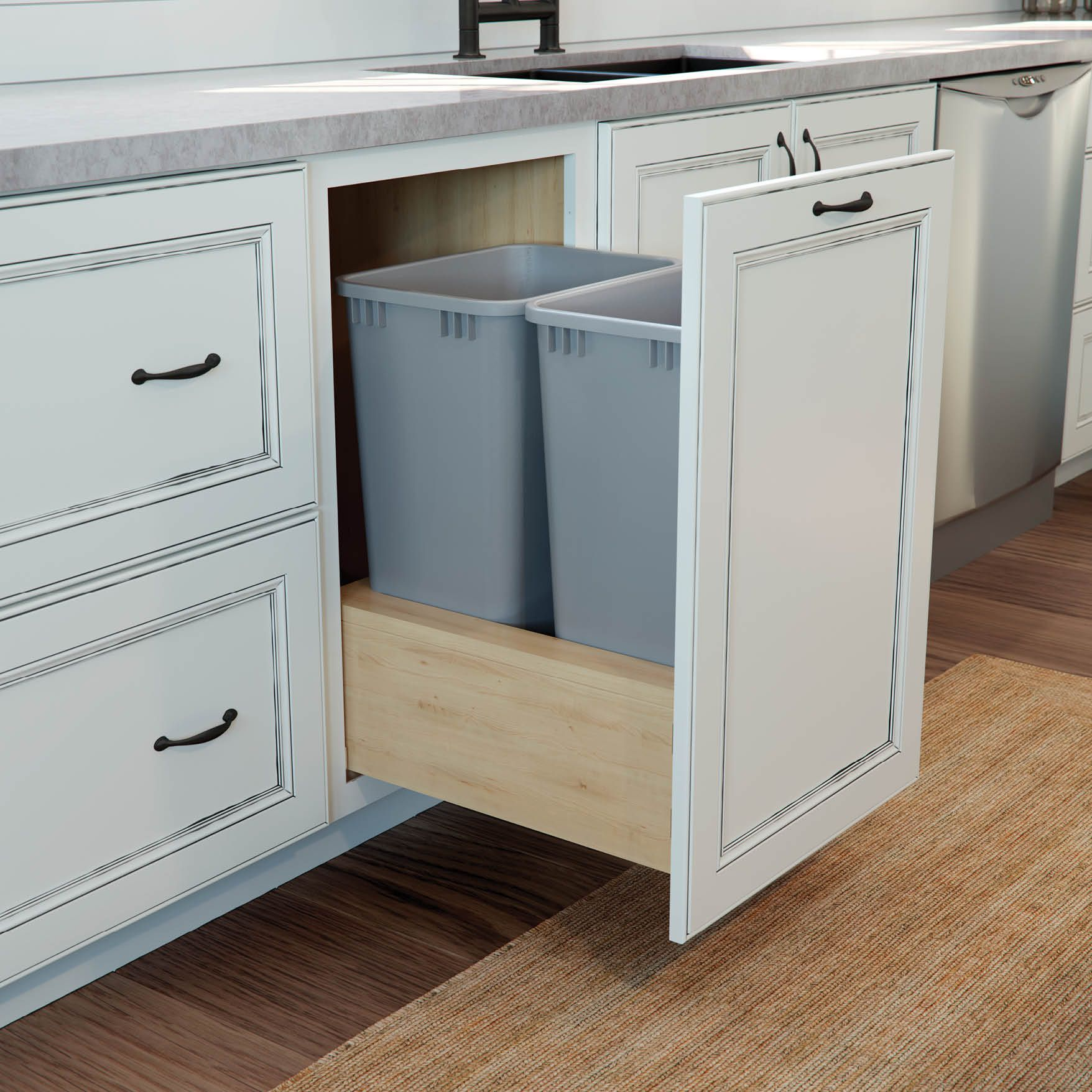 We Love This Hidden Organizational Gem Our Pull Out Base Wastebasket Cabinet Makes It Easy And Convenient To R Bath Organization Kitchen And Bath Waste Basket