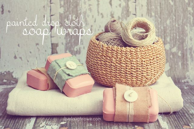 DIY:: Bath & Body Inspired Painted Drop Cloth Soap wrap