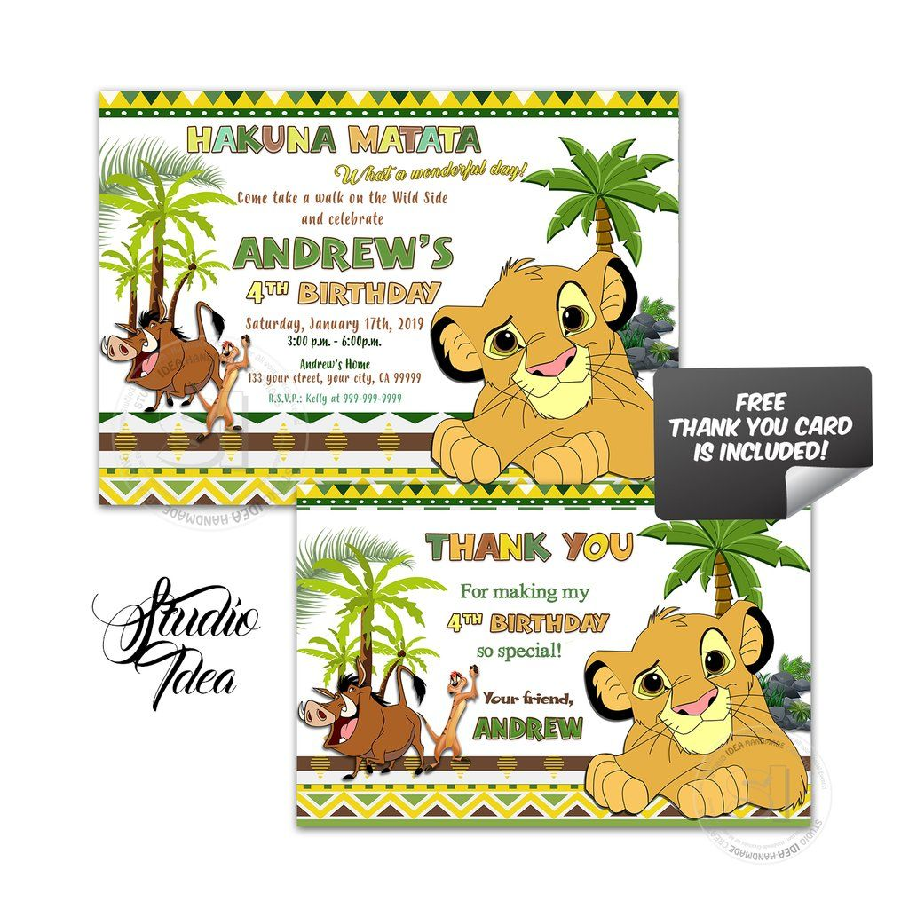 Simba Lion King Birthday Party Printable Invitation With Free Thank You Card Diy Digital File S Lion King Birthday King Birthday Lion King Birthday Party Ideas