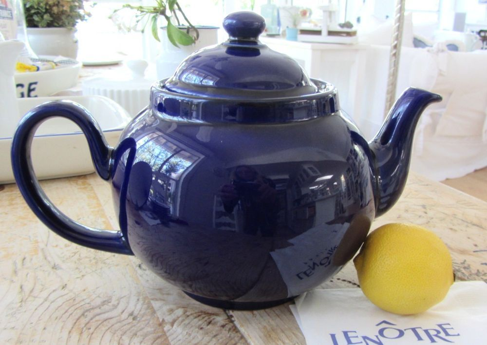 Gorgeous 6 Cup Dark COBALT BLUE TEAPOT By Ceracraft England, Porcelain