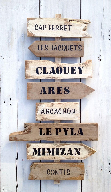 Panneau 8 directions personnalisable avec fl ches en bois - Panneaux decoration murale ...