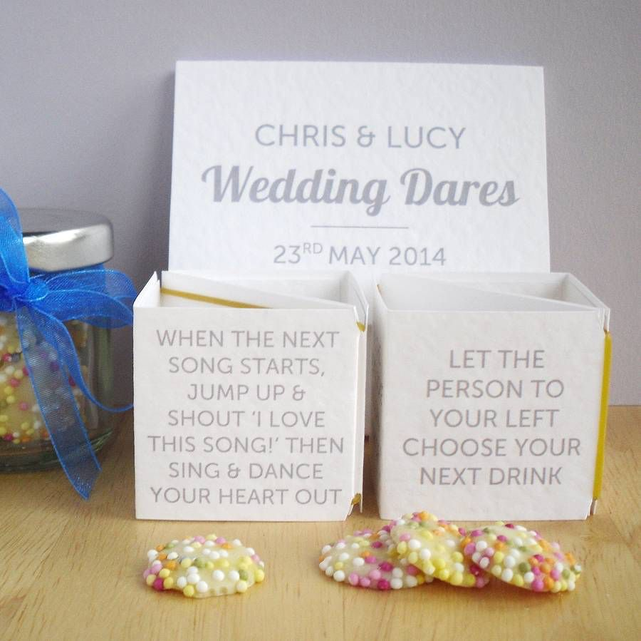 Personalised Wedding Dares Table Decoration Game | Table decorations ...