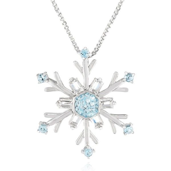 Carnevale Sterling Silver Blue and White Swarovski Elements Snowflake... ($9.99) ❤ liked on Polyvore featuring jewelry, necklaces, accessories, sterling silver necklaces, sterling silver jewelry, sterling silver jewellery, pendants & necklaces y snowflake pendant necklace