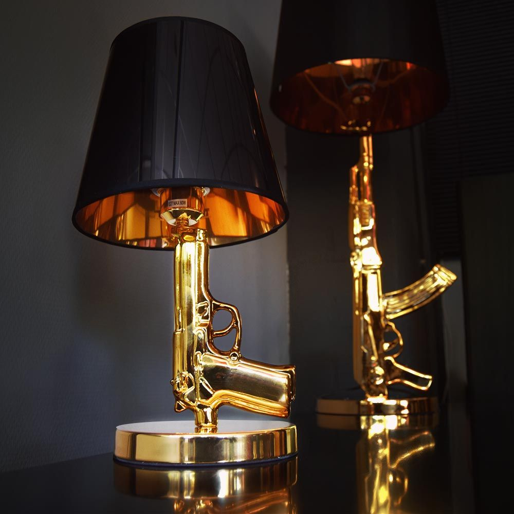 golden gun lamp replica pistool armas ouro pinterest guns