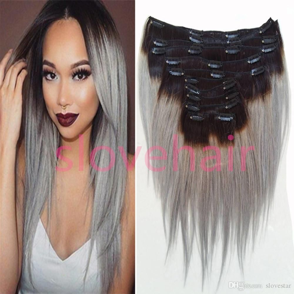 8a Ombre Hair Clip In Human Hair Extensions Brazilian Virgin Grey
