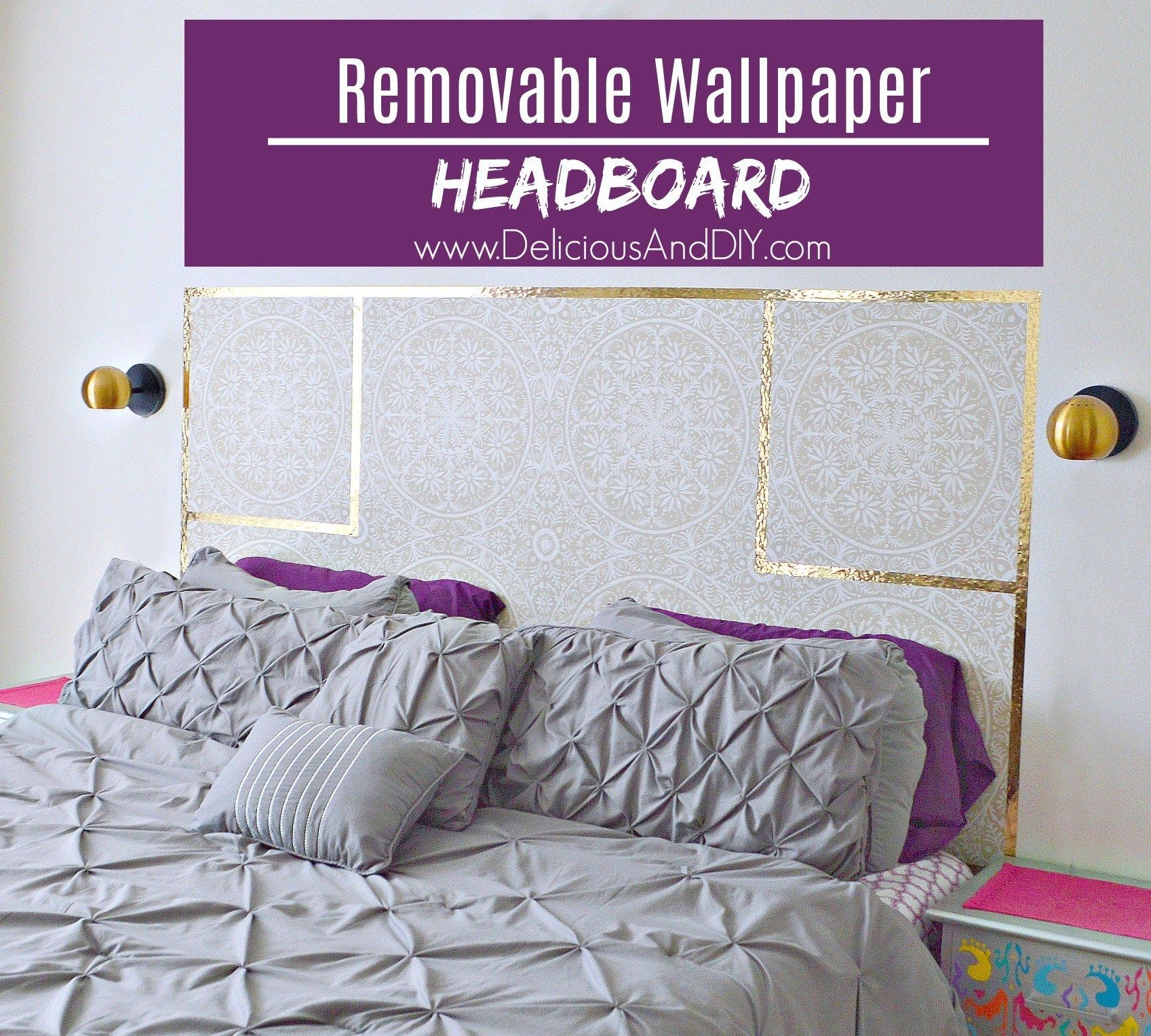 Diy Removable Wallpaper Headboard Delicious And Diy Wallpaper Headboard Diy Wallpaper Headboard Rental Home Decor