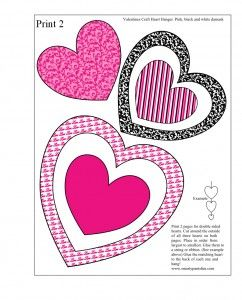 Free printable Valentines Day valentines craft of hanging hearts