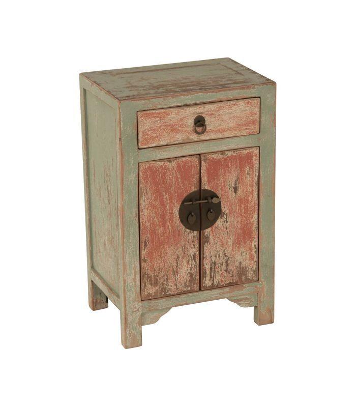 Mesita de noche en madera cn 1 cajón y 2 puertas | Olhom | Deco ...