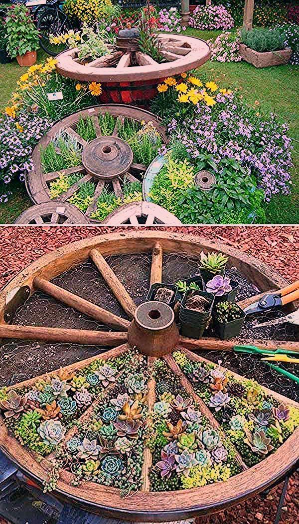 Photo of Bereiten Sie ein altes Wagenrad für einen geteilten Succulent- oder Kräutergar… – Decorating Ideas