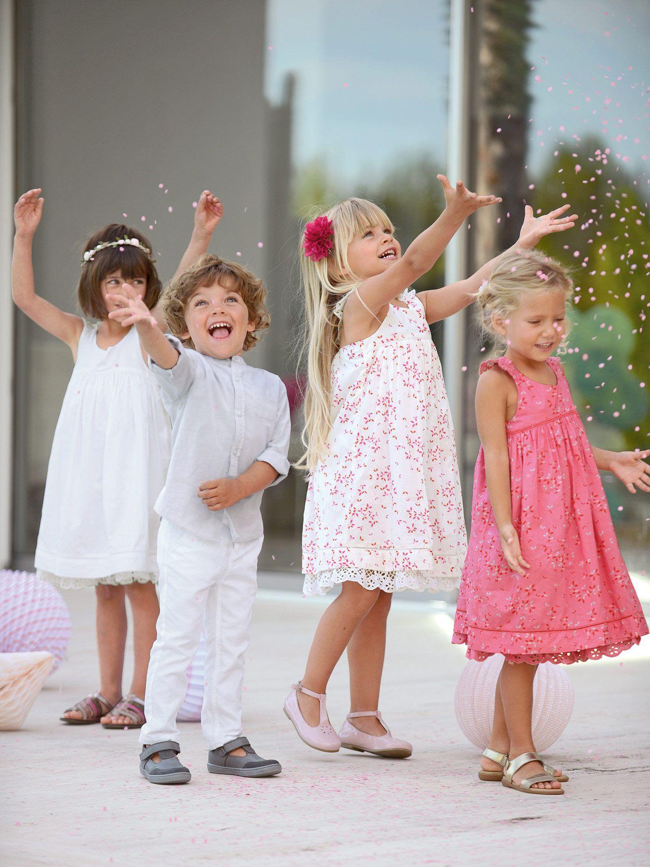Vertbaudet Festliches Mädchenkleid aus Baumwolle in weiß ...