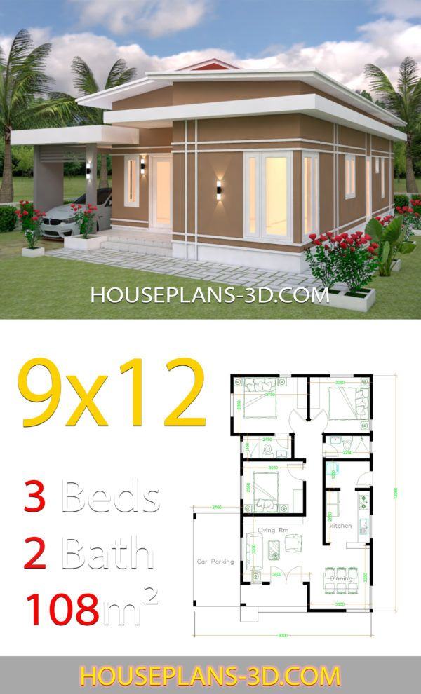 House Design 9x12 With 3 Bedrooms Slop Roof House Plans 3d Guest House Plans Beautiful House Plans House Construction Plan