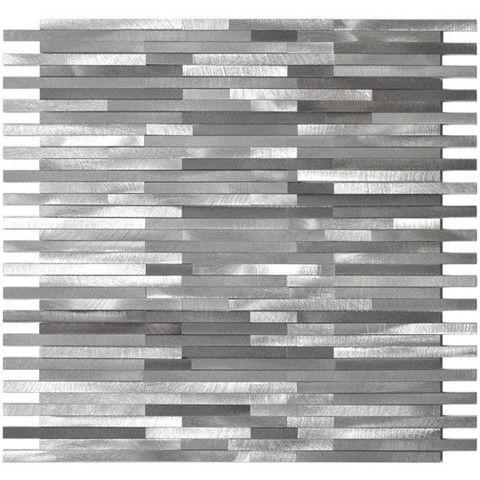 Grey Blends Thin Lines Aluminum Mosaic Tile Emt Al12 Mix Cb Metal Mosaic Tiles Mosaic Tiles Wall Tiles Design