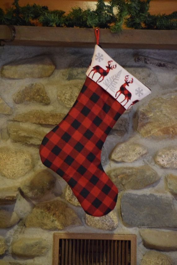 buffalo check stocking flannel plaid deer christmas by livelyoak