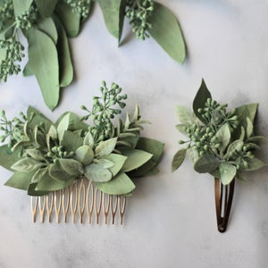 Eucalyptus Hair Comb Greenery Bridal Hair Vine Boho Green Etsy Floral Hair Pieces Flower Garland Hair Flower Hair Comb