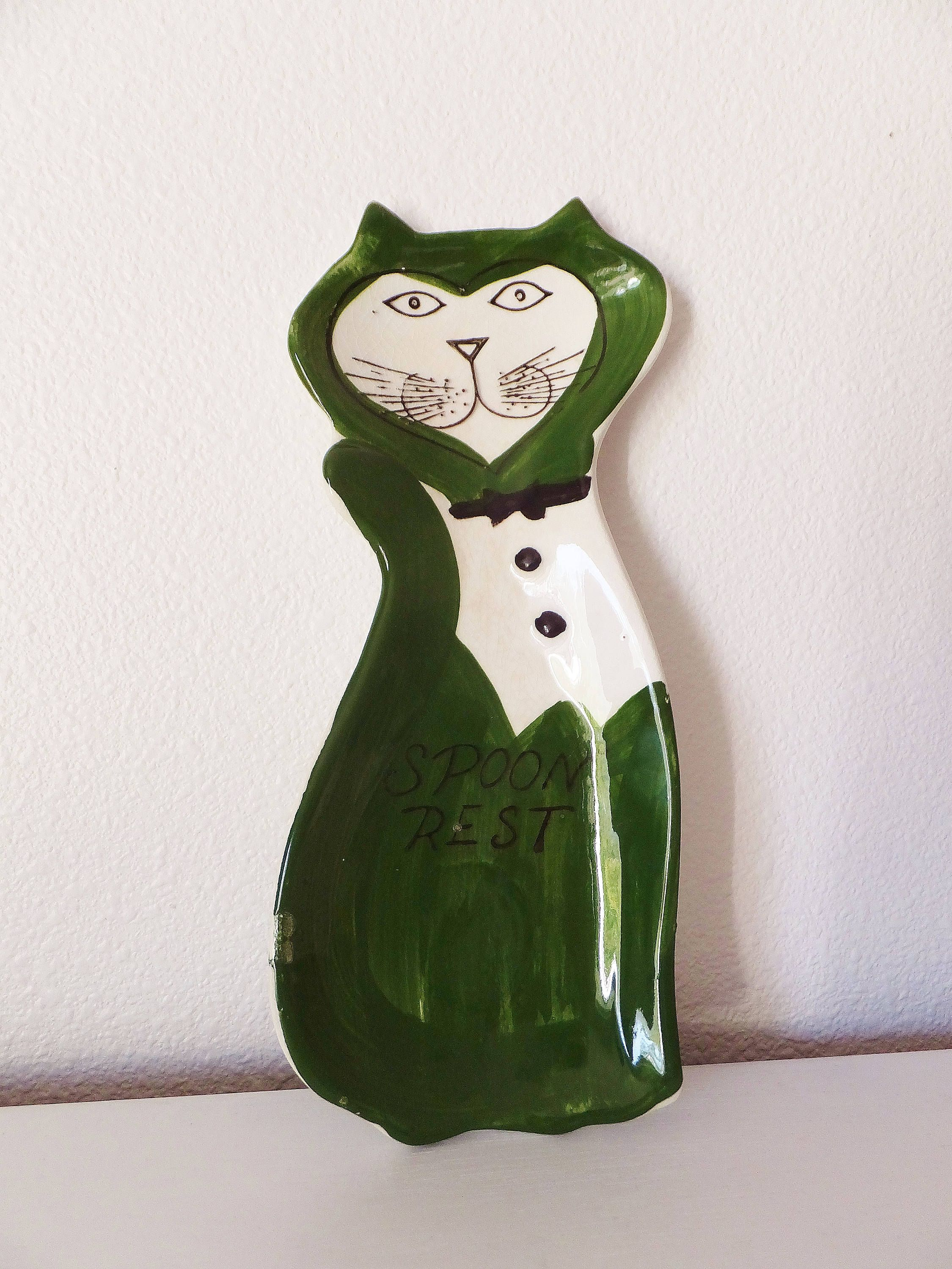 Vintage Cat Spoon Rest 1960u0027s Kitchen Green U0026 White Cat Kitchen Decor Mid  Century Cat Decor Retro Kitchen Spoon Holder Tuxedo Cat Kitty