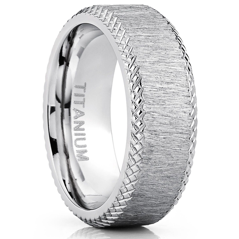 Oliveti Men's 8mm Hairline Ground Brushed Finish Titanium