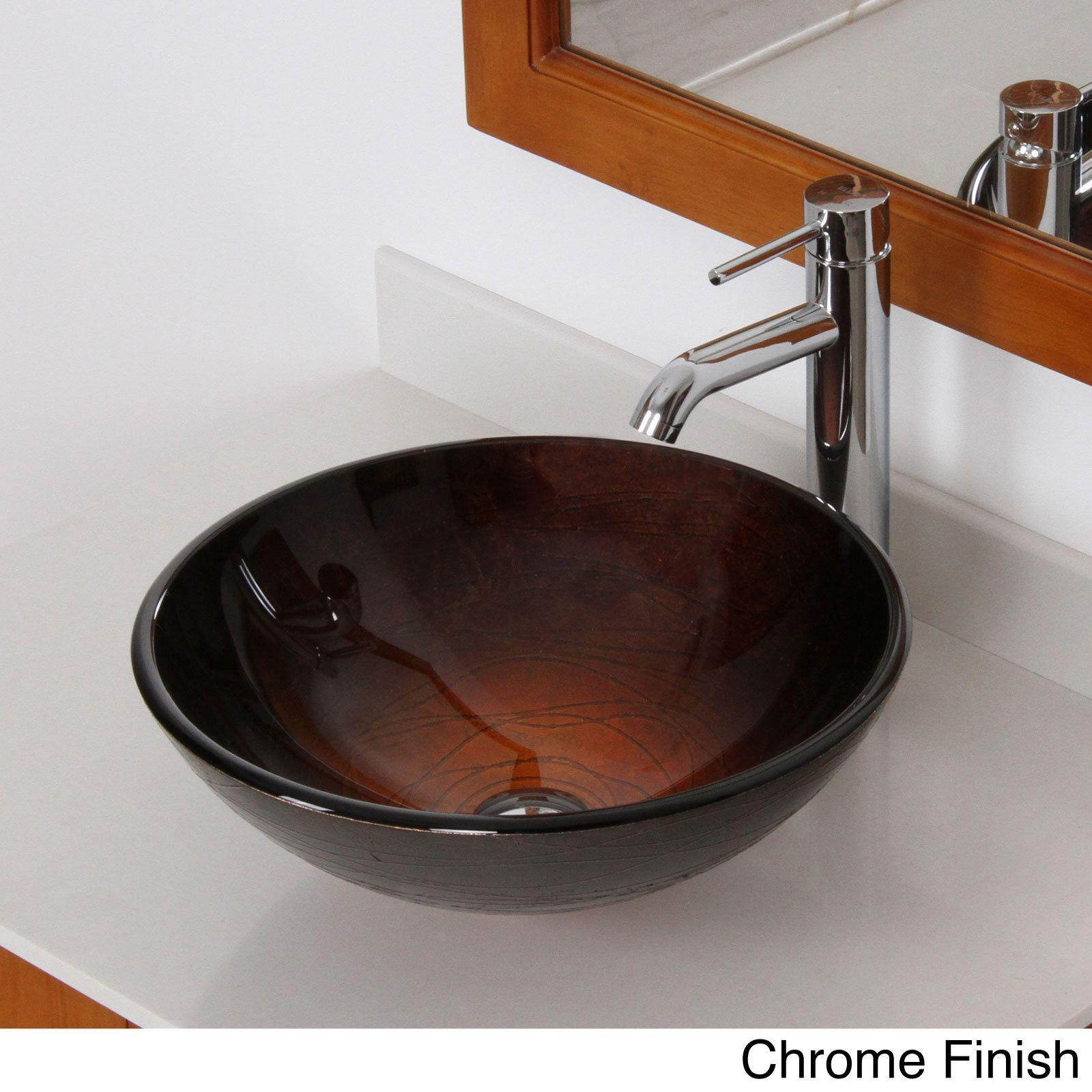 Elite Modern Design Tempered Glass Bathroom Vessel Sink With Faucet Combo Chrome Grey Finsh Faucet Sink Size 16 25 Vessel Sink Bathroom Glass Vessel Sinks Vessel Sink