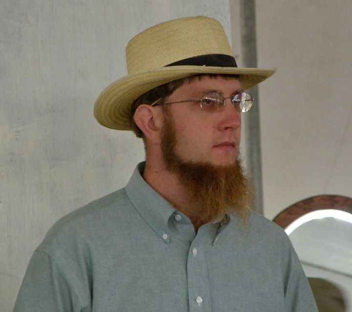 Photos of married Amish Men taken at an Amish Quilt Auction, Bonduel, Wisconsin (September 2007)  -  Travel Photos by Galen R Frysinger, Sheboygan, Wisconsin