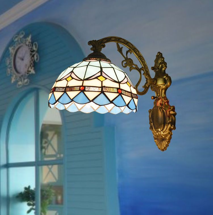 Mediterranean Tiffany Blue Modern Baroco Style Wall Lamp Antique Lighting Stained Glass Shade For Aisle