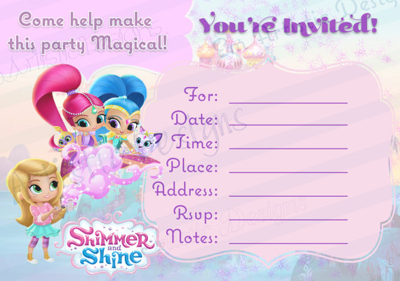 Instant Download Shimmer And Shine Fill In The Blank Printable Birthday Party Invit In 2020 Birthday Party Invitations Printable Birthday Invitations Shimmer N Shine