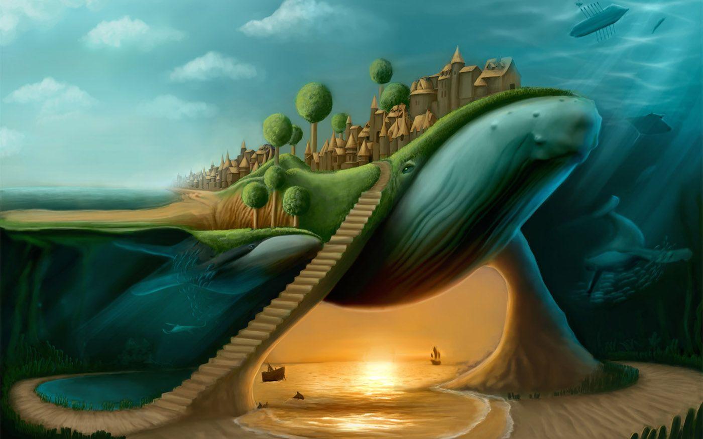 Humpback_whales Picture (2d, surrealism, fantasy | Wallpaperlo.com ...